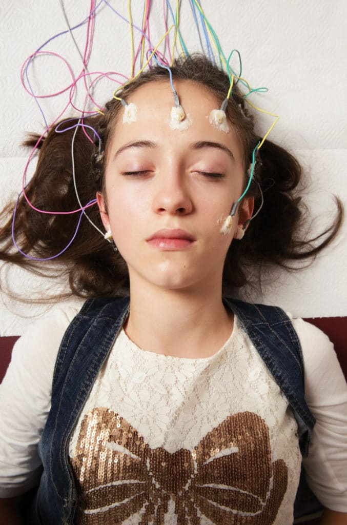 girl receiving neurofeedback