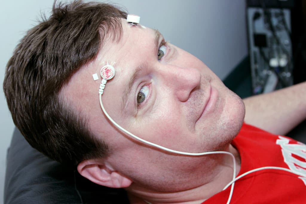 Man wearing electrodes