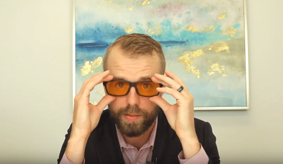 Use blue blocking glasses to help you sleep better at night.