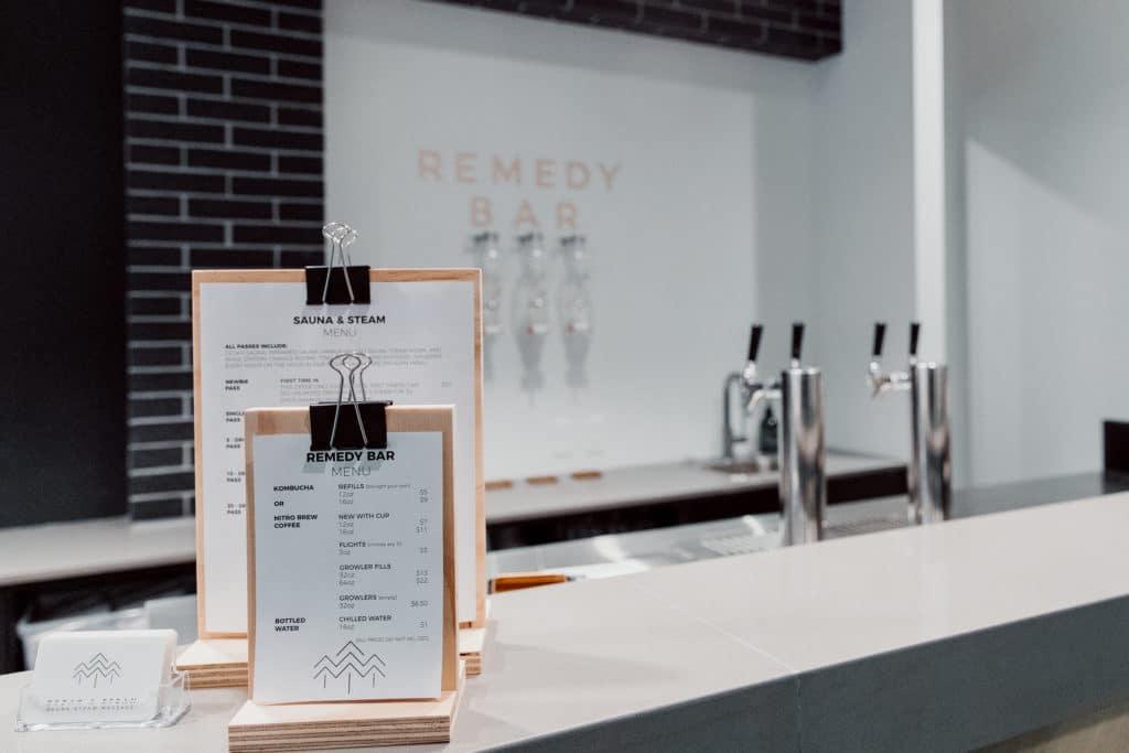 The remedy bar at Cedar and Steam sauna in Calgary