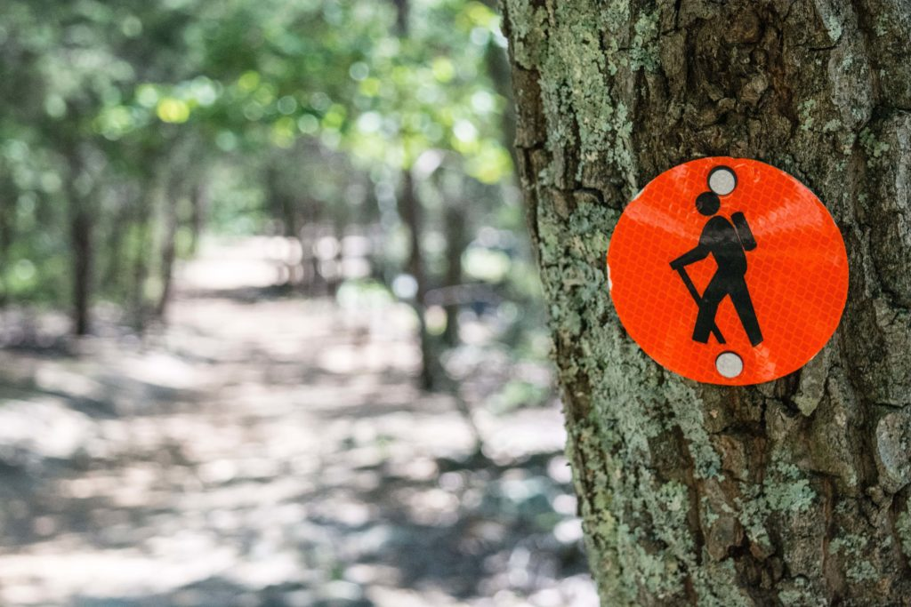Hiking sign featuring symbol of person walking nailed to a tree